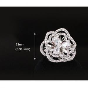 Set Borealy Simulated Sapphire Colier, Cercei, Brosa si Inel Camellia Luxury7