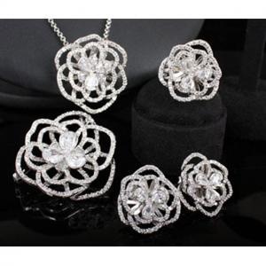 Set Borealy Simulated Sapphire Colier, Cercei, Brosa si Inel Camellia Luxury1