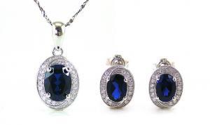 Blue Safir Colier şi Cercei 4 carate & Silver 9250