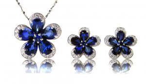 Safir Flowers Colier şi Cercei 10 carate & Silver 9250