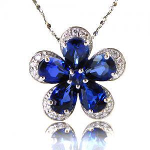 Safir Flowers Colier şi Cercei 10 carate & Silver 9252