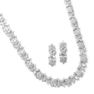 Stylish Lady Set Colier Cercei with Zirconia Simulated Diamonds0