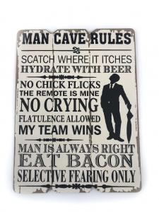 Tablou motivational ,,MAN CAVE RULES