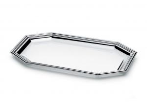 Tavă octogonală argintată by Chinelli, made in Italy