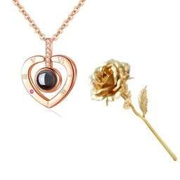 Set LOVE- Trandafir Aur 24k si Colier Mesaj in Cristal0