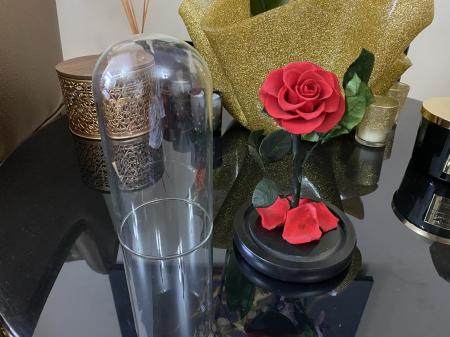 Cadou Valentine's Day Trandafir Rosu Criogenat Cupola 20 cm & Cercei Sapphire Heart [2]