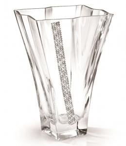 Vază cu cristale Swarovski PRIMA Quadro REGINA by Chinelli, made in Italy0