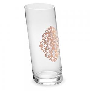 Vaza Cristal Oblique Arabesque Gold Pink - Made in Italy