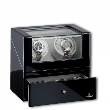 Watch Winder San Diego 2 Black by Designhütte – Made in Germany - personalizabil