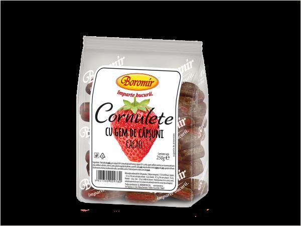 Cornulețe cu gem de căpșuni și cacao 250g 0
