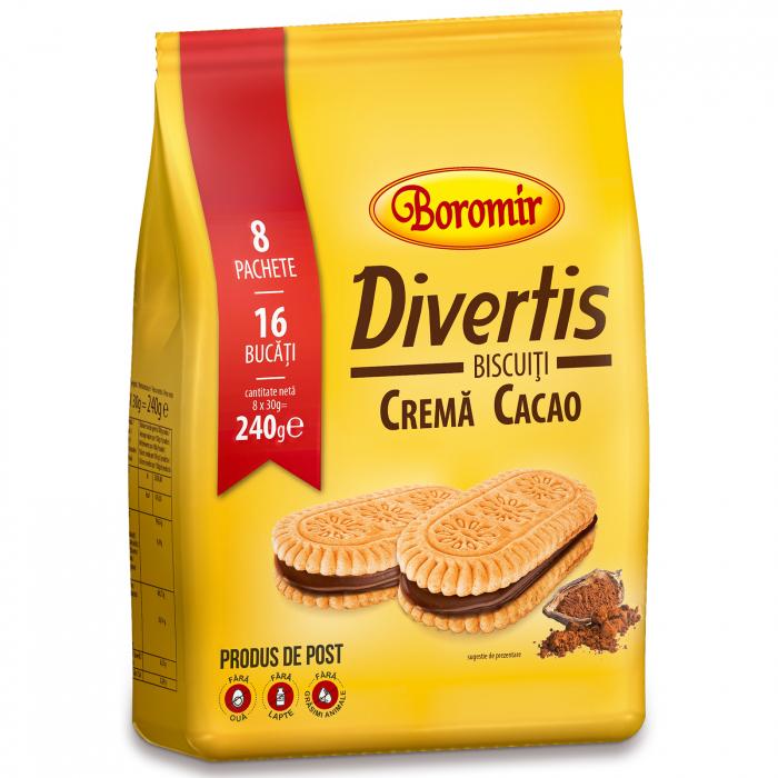 Biscuiți Divertis cremă cacao 240g 0