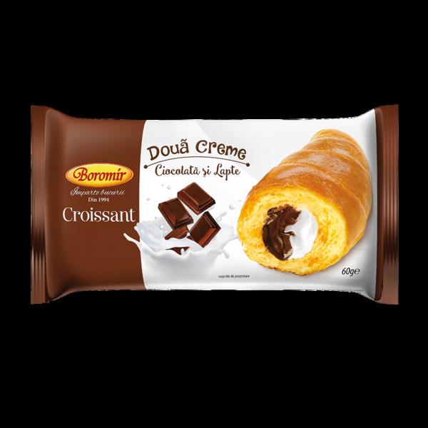Croissant 2 creme ciocolată și lapte 60g 0