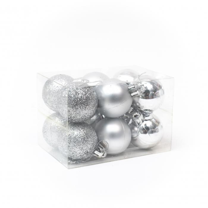 Set 12 Globuri Argintii, 4cm 0