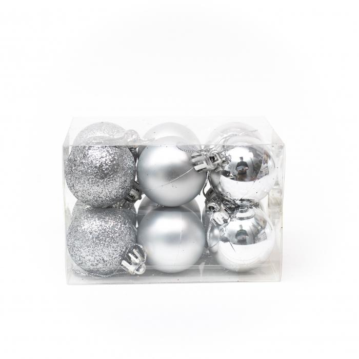 Set 12 Globuri Argintii, 4cm 1