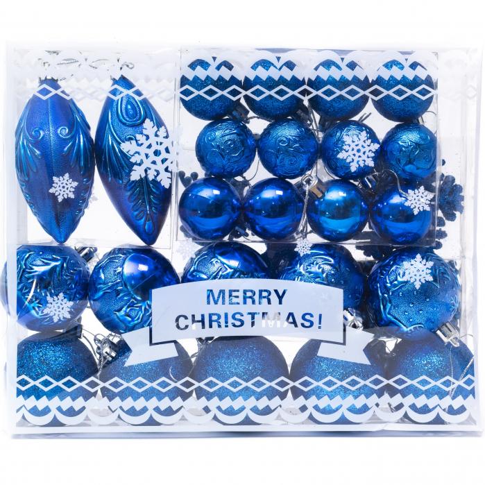 Set 33 de Globuri si Figurine Brad, Albastre,decoratiuni de Craciun [0]
