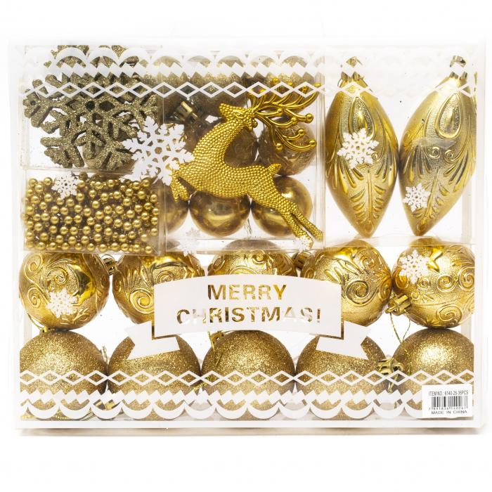 Set 33 de Globuri si Figurine Brad, Aurii,decoratiuni de Craciun [0]