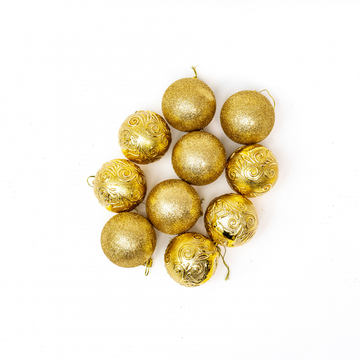 Set 33 de Globuri si Figurine Brad, Aurii,decoratiuni de Craciun [7]