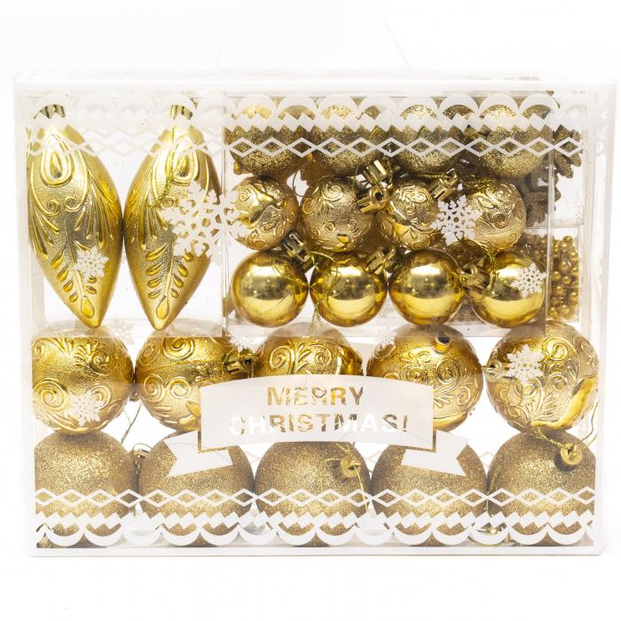 Set 33 de Globuri si Figurine Brad, Aurii,decoratiuni de Craciun [1]