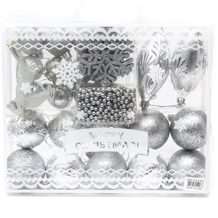 Set 33 de Globuri si Figurine Brad, Argintii,decoratiuni de Craciun [0]
