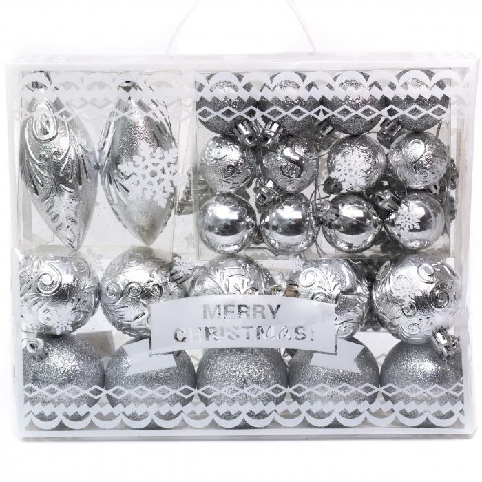 Set 33 de Globuri si Figurine Brad, Argintii,decoratiuni de Craciun [1]