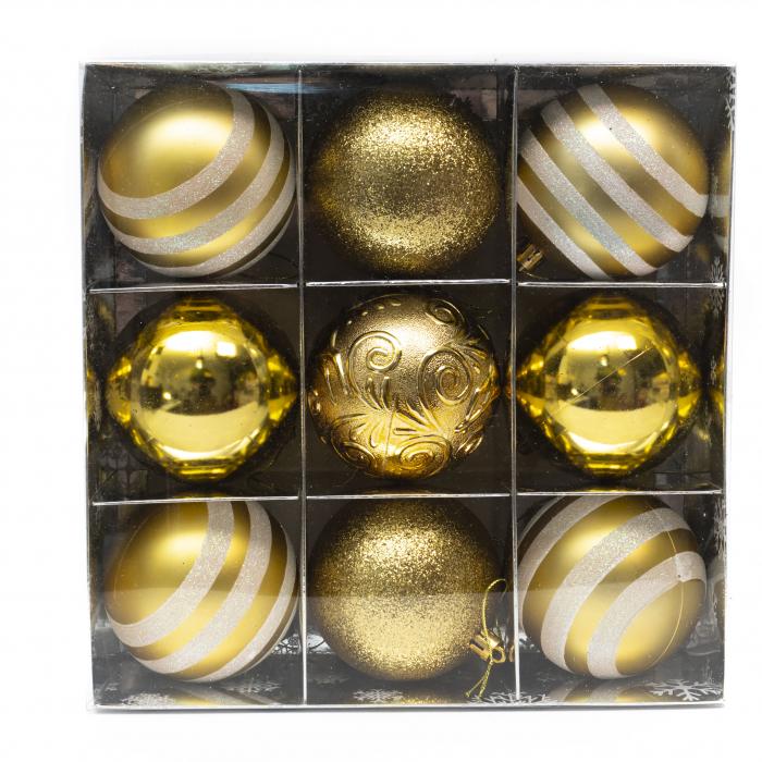 Set 9 Globuri Maxi Aurii, 8cm 0