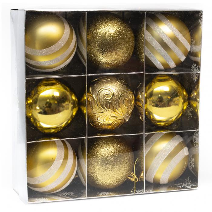 Set 9 Globuri Maxi Aurii, 8cm 1