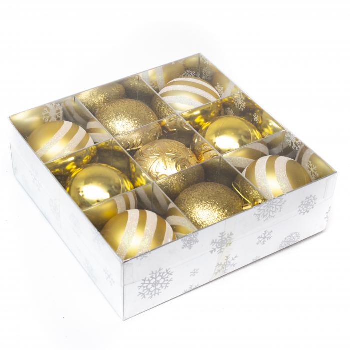 Set 9 Globuri Maxi Aurii, 8cm 2