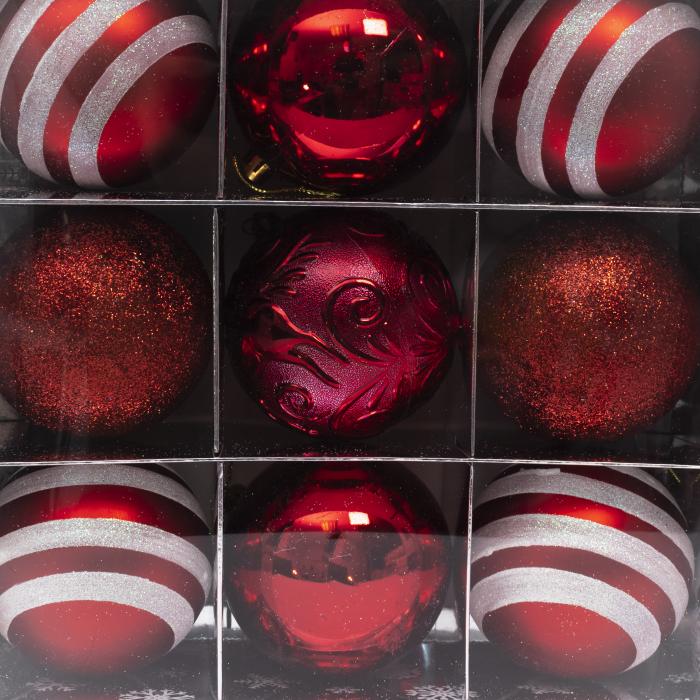 Set 9 Globuri Maxi Rosii, 8cm 2