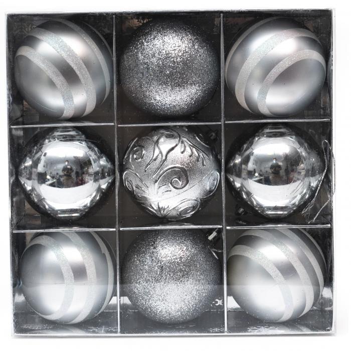 Set 9 Globuri Maxi Argintii, 8cm [0]
