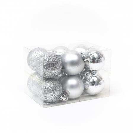 Set 12 Globuri Argintii, 4cm0