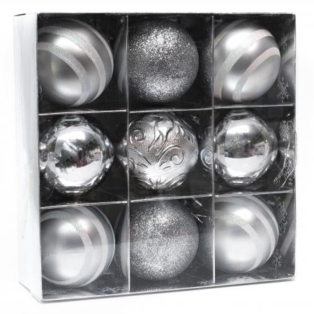 Set 9 Globuri Maxi Argintii, 8cm [3]