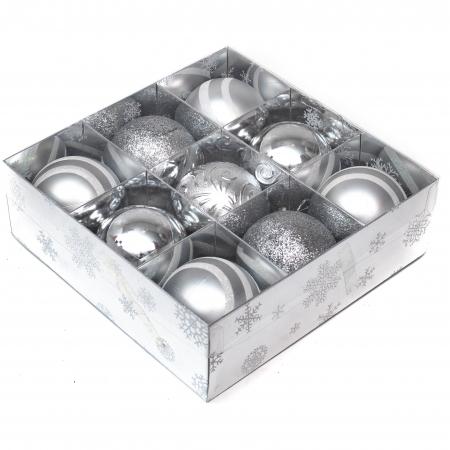 Set 9 Globuri Maxi Argintii, 8cm [1]
