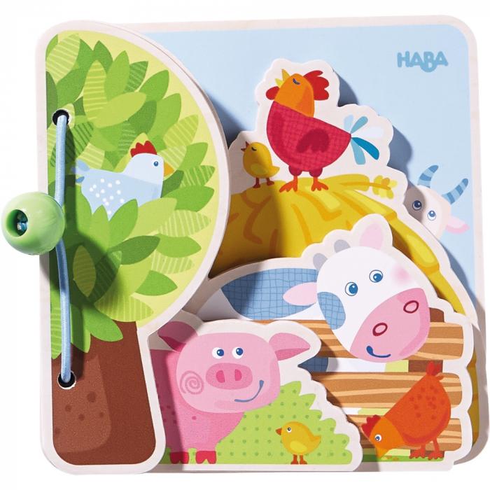 Carte din lemn pentru bebelusi - Prietenii de la ferma 0