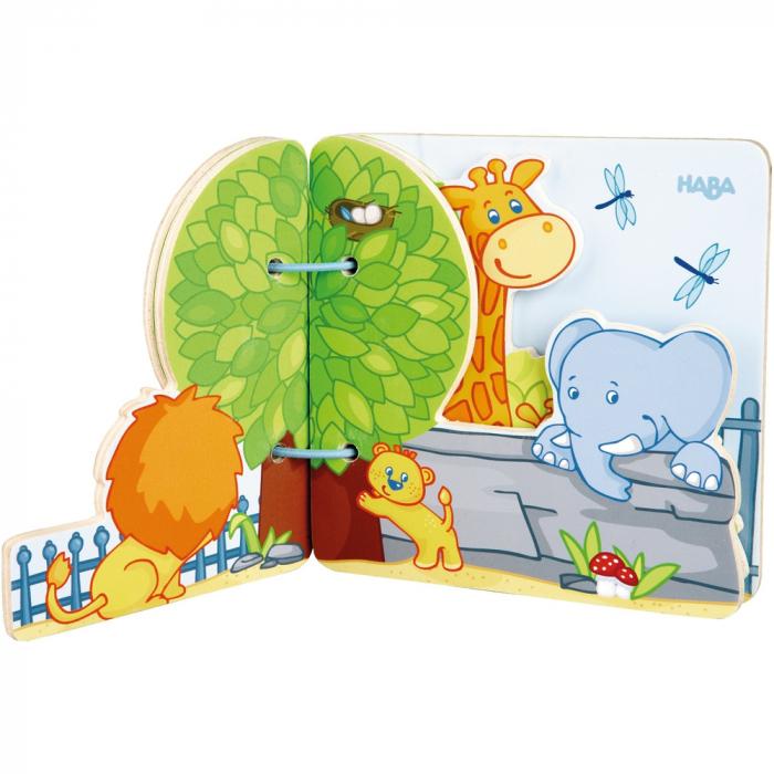 Carte din lemn pentru bebelusi - Prietenii de la zoo 2