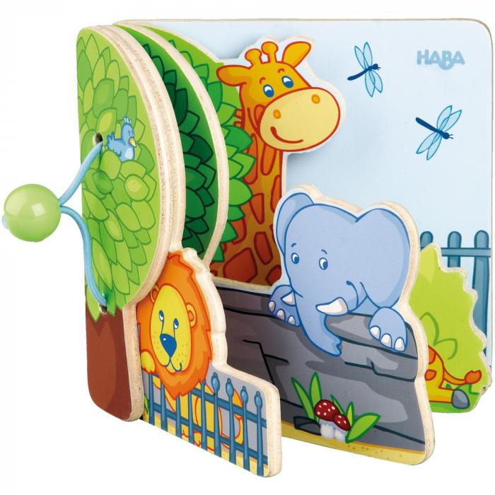 Carte din lemn pentru bebelusi - Prietenii de la zoo 4