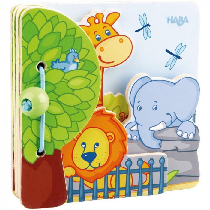 Carte din lemn pentru bebelusi - Prietenii de la zoo 0