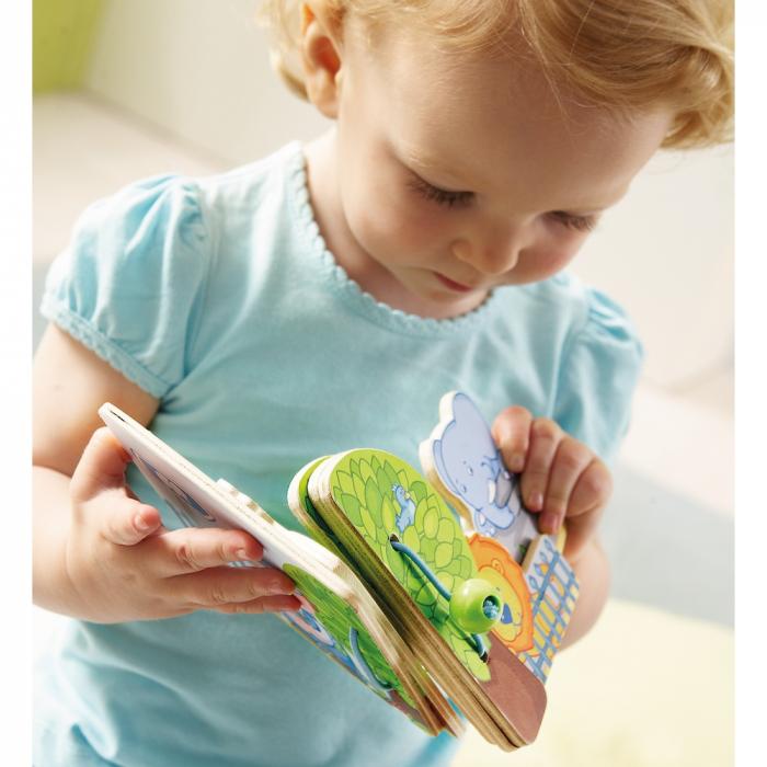Carte din lemn pentru bebelusi - Prietenii de la zoo 3