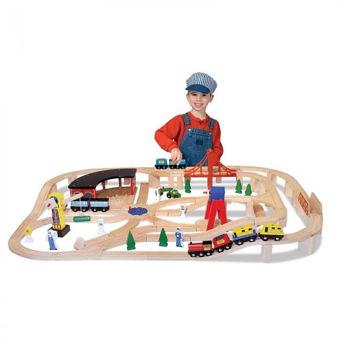 Set Trenulet din lemn cu depou 0
