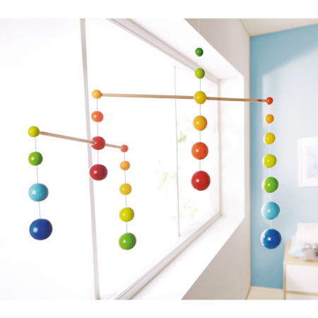 Carusel lemn - Mobile Rainbow Balls0
