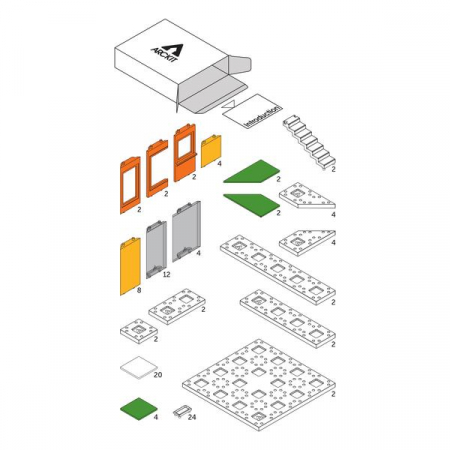 Kit constructie arhitectura - Mini Modern Colours 2.0, 105 piece Architectural Model Kit7