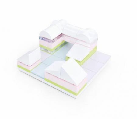 Kit constructie arhitectura - Tiny Town 2 Marina, 40 piece Architectural Model Kit3