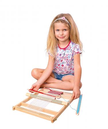 Razboi de tesut pentru copii, cu lana - set de indemanare - Bino Mertens0