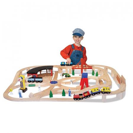 Set Trenulet din lemn cu depou0