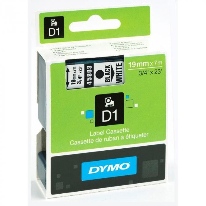 Banda etichete Dymo 19mm x 7m negru/alb 0