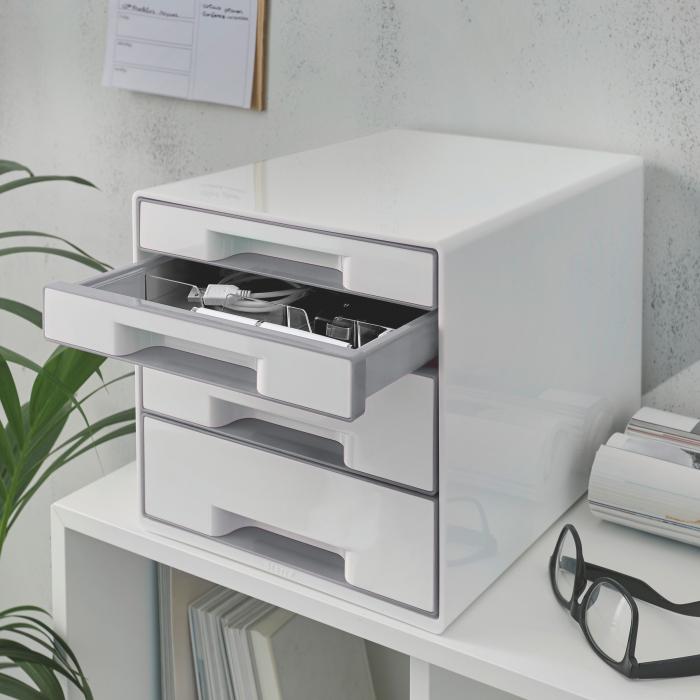Cabinet cu sertare Leitz WOW, 4 sertare, PS, A4, cu tavita organizare, alb-gri 1