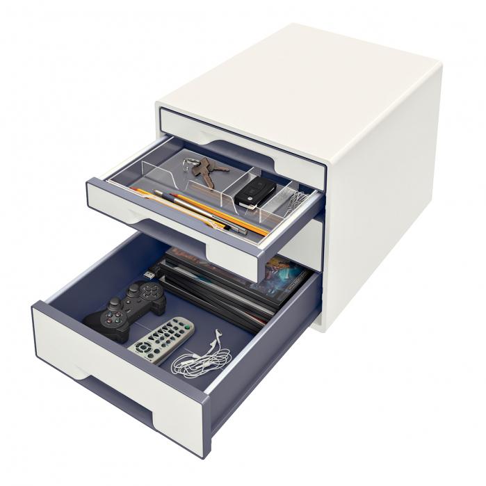 Cabinet cu sertare Leitz WOW, 4 sertare, PS, A4, cu tavita organizare, alb-gri 2