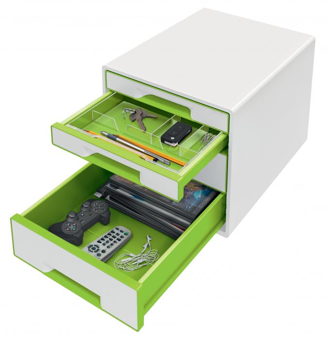Cabinet cu sertare Leitz WOW, 4 sertare, PS, A4, cu tavita organizare, alb-verde 2