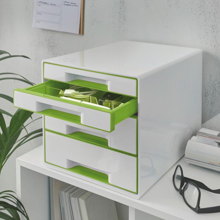Cabinet cu sertare Leitz WOW, 4 sertare, PS, A4, cu tavita organizare, alb-verde 1