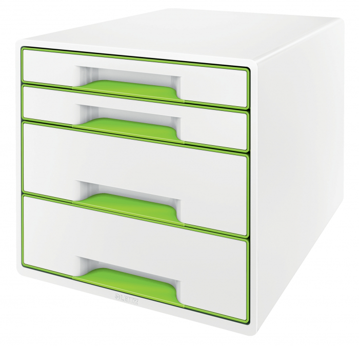 Cabinet cu sertare Leitz WOW, 4 sertare, PS, A4, cu tavita organizare, alb-verde 0