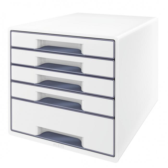 Cabinet cu sertare Leitz WOW, 5 sertare, PS, A4, cu tavita organizare, alb-gri 0